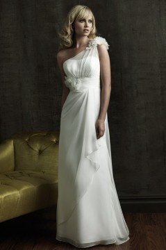 Adlington Chiffon One Shoulder Flower Column Wedding Dress