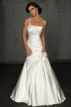 Aldershot Satin One Shoulder Beading Ruching Trumpet Wedding Dress