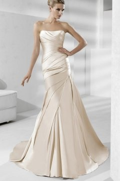 Caistor Satin Strapless Pleats Mermaid Wedding Dress