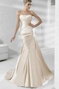 Strapless Pleated Satin Mermaid Wedding Dress
