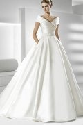 V neck Applique Satin Ball Gown Wedding Dress