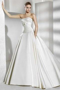 Camberley Satin Strapless Applique Ball Gown Wedding Dress