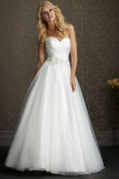 Beautiful Organza Sweetheart Applique A line Wedding Dress