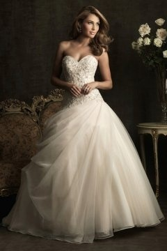 Cambridge Tulle Sweetheart Applique Pleats Ball Gown Wedding Dress