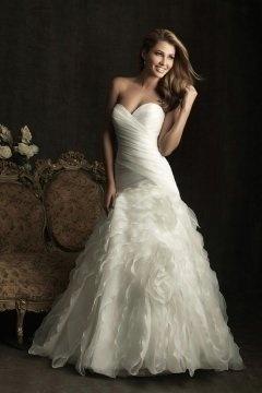 Cannock Organza Sweetheart Ruffle Ruching Trumpet Wedding Dress