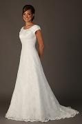 Rund Ausschnitt Kurze Ärmel Spitze Brautkleid