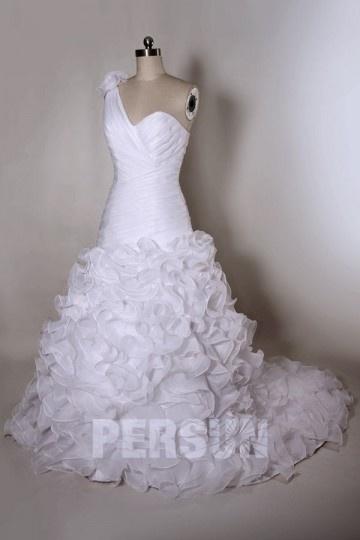 One Shoulder Ruched Ruffle Organza Wedding Dress