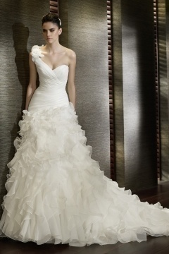 Carlisle Organza One Shoulder Ruffle Ruching Mermaid Wedding Dress