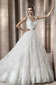 Straps Lace Beading Ball Gown Cathedral train Wedding Dress