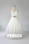Lace Beading Straps Ball Gown Tulle Wedding Dress