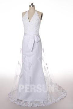 Robe de mariée en dentelle en tulle à A-ligne avec bretelle au cou avec ruban