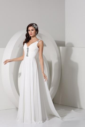 Beading Straps V neck A line Chiffon Wedding Dress