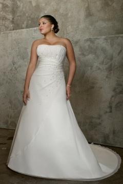 Robe de mariée de grande taille Ligne A en organza ornée de strass bustier