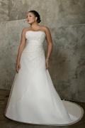 Strapless Lace Up Chiffon Ivory Plus Size Wedding Dress