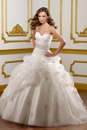 Sweetheart Beading Pick Up Skirt Ball Gown Organza Wedding Dress