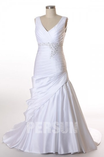 Beading Ruched V neck Wrap Satin Plus Size Wedding Dress