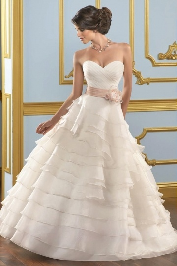 Chic Sweetheart Layers Sash Buttons Organza Wedding Gown UK Persun