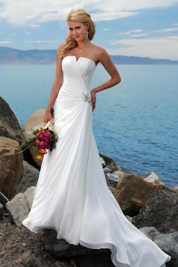 Strapless Ruched A-line Wedding Dress