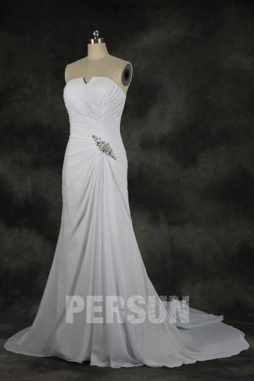 A Linie trägerloses gefaltetes Perlen verziertes Chiffon Strand Brautkleid Persunshop