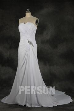 Robe de mariée plage sirène bustier sirène en Mousseline