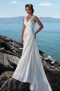 A line Wrap Beading Satin Beach Wedding Dress