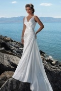 A line Wrap Beading Satin Beach Wedding Dress