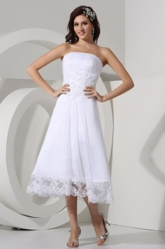 Simple Strapless A Line Beading Tulle Tea Length White Wedding Dress