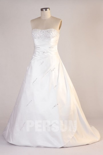 Trägerloses Perlen Satin Brautkleid Persunshop