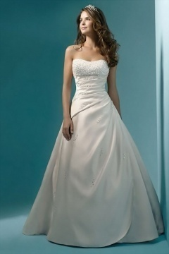Strapless Satin Beading Ruched Court train Wedding Dress