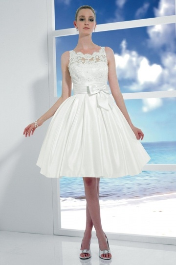 Dressesmall Ribbon Lace Straps Taffeta A line Beach Wedding Dress