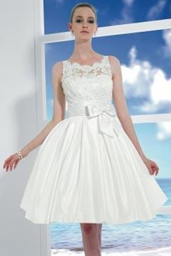 Sexy A Line Taffeta Sleeveless Knee Length Wedding Dress UK