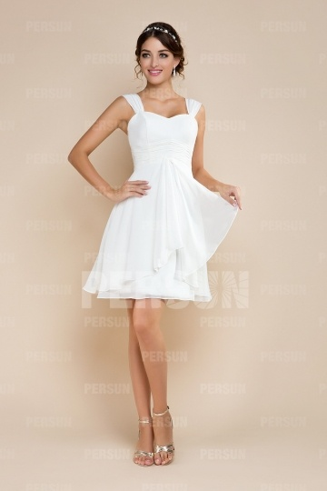 Ruching Sweetheart A line Short Chiffon Wedding Dress