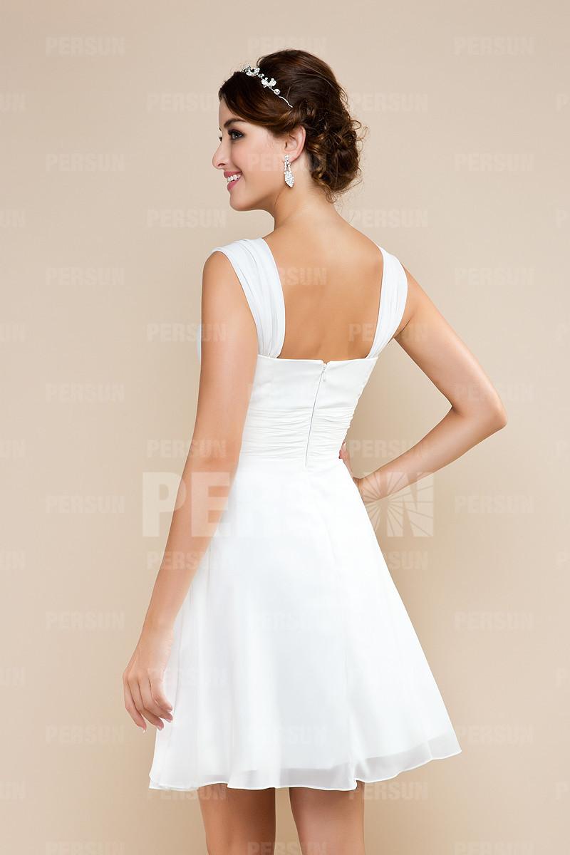 Robe demoiselle d'honneur empire simple courte aux genoux