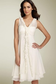 Chelmsford Chiffon Straps Ruffles A line Short Wedding Dress