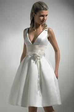Chic V Neck Sleeveless Satin A Line Flower Knee Length Wedding Gown