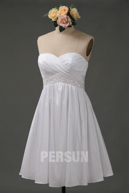 Beading Sweetheart A line Short Taffeta Wedding Dress