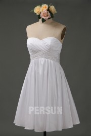 Beading Sweetheart A line Short Taffeta Wedding Dress