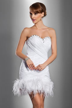 Sexy Sweetheart Tulle Ruching Sheath Lace Up Short White Prom Dress
