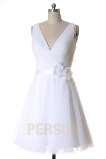 A line V neck Ribbon Short Tulle Wedding Dress