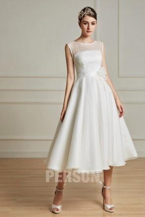 801e8344739 Elegantes Knielanges A-Linie Rund-Ausschnitt Hochzeitskleid