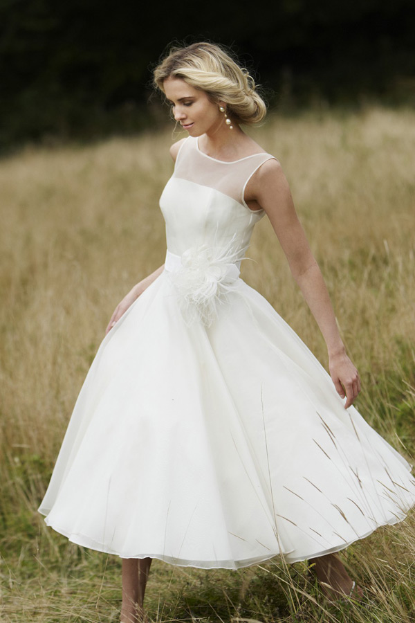 Sheer Applique Round Neck Short Organza Ball Gown Wedding Dress