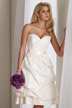 Simple Taffeta Sweetheart Flower Pick Up Skirt Knee Length Wedding Gown