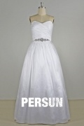 A line Sweetheart Beaded Ruching Taffeta Wedding Dress