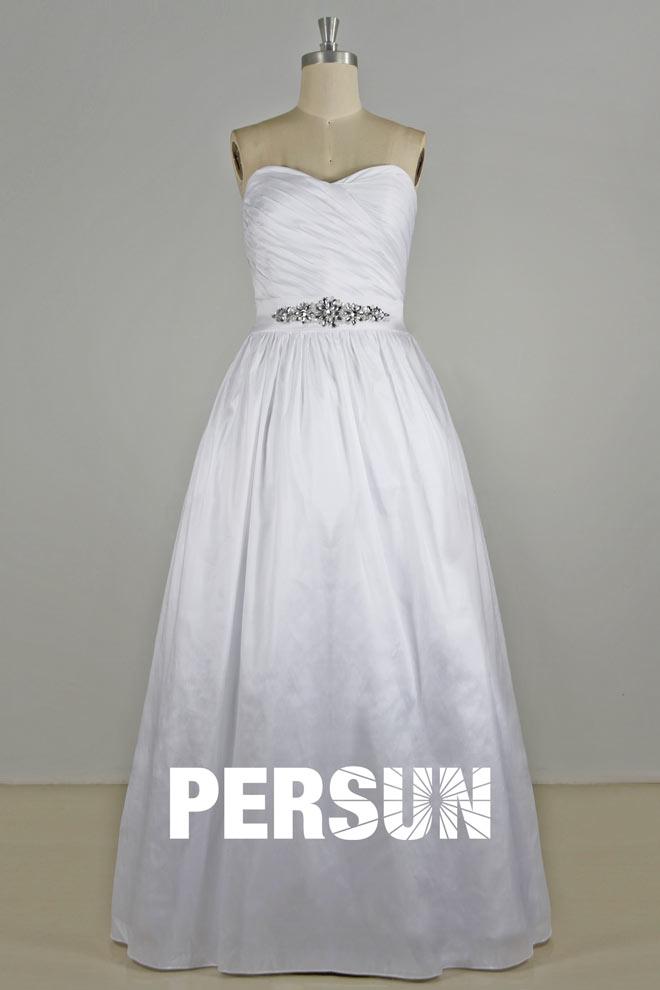 Beaded ruching sweetheart a line taffeta wedding dress for A line wedding dress with ruching