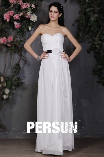 Column Sweetheart Long White Dress for Wedding