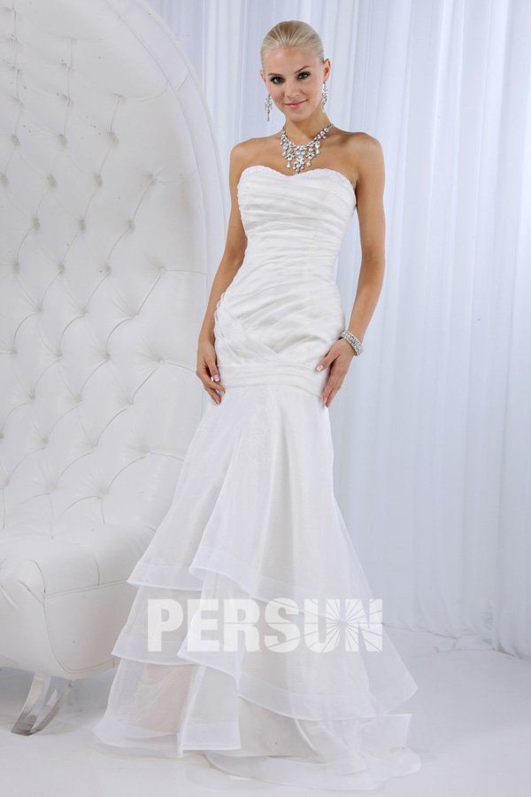 sweetheart ruched ruffle mermaid wedding dress on sale gbp