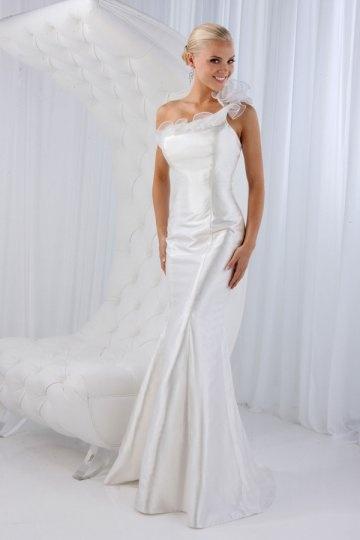 Deal Taffeta One Shoulder Ruffle Taffeta Wedding Dress
