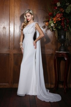 Dover Chiffon One Shoulder Ruched A line Wedding Dress