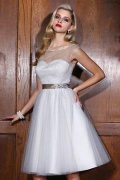 Driffield Tulle Sheer Round Neck Sash Short Wedding Dress