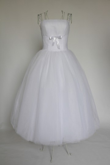 Pleats Strapless Ball Gown Tea length Tulle Wedding Dress